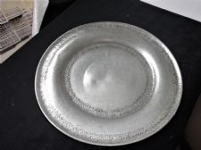 "ANTIQUE PEWTER 11"" PLATE SIGNED TINN HANDARBEID HAMMERED RIMS W PART LABEL"